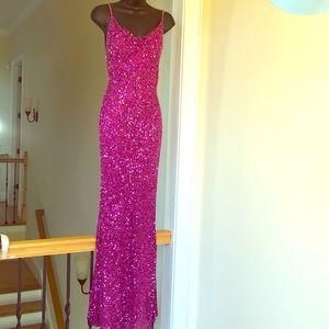 SCALA sz S fuschia beaded gown formal prom cruise